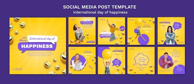 Internationale dag van geluk instagram-berichten