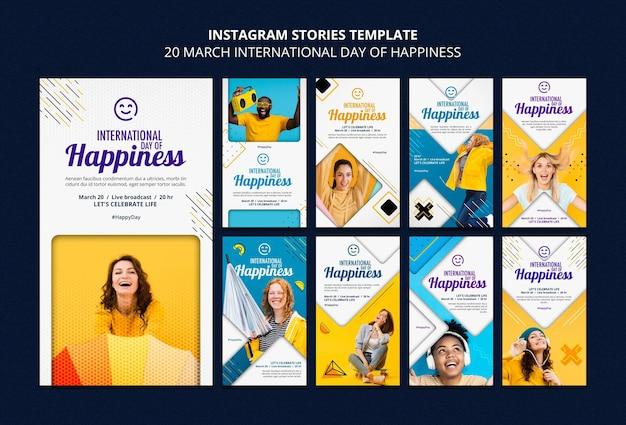 Internationale dag van geluk instagram-verhalen