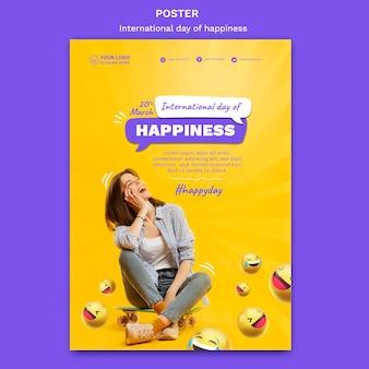 Internationale dag van geluk poster sjabloon