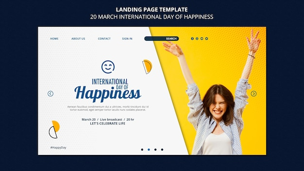 Internationale dag van geluk websjabloon