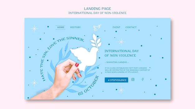 Internationale dag van geweldloosheid bestemmingspagina-ontwerp