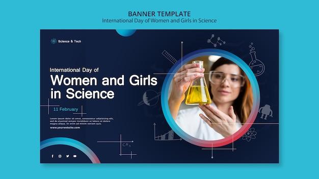 Internationale dag van vrouwen en meisjes in de sjabloon voor spandoek van de wetenschap