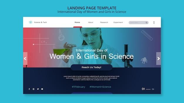 Internationale dag van vrouwen en meisjes in de websjabloon van de wetenschap