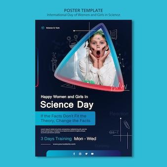 Internationale dag van vrouwen en meisjes in wetenschap afdruksjabloon