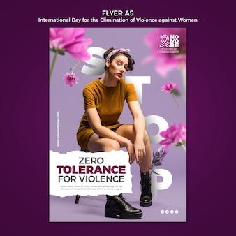 Internationale dag voor de uitbanning van geweld tegen vrouwen flyer met foto