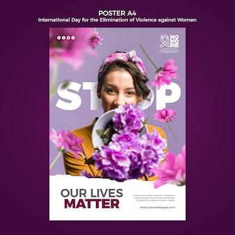 Internationale dag voor de uitbanning van geweld tegen vrouwen poster a4 met foto