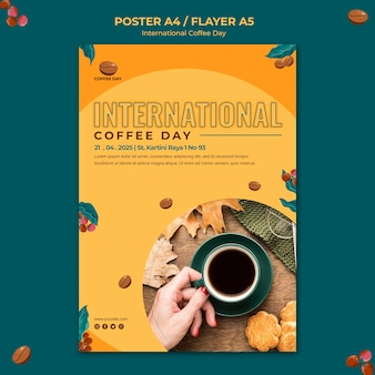 Internationale koffiedag flyer ontwerpen