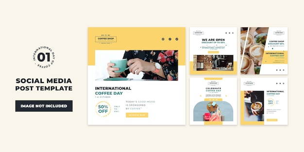 Internationale koffiedag sociale media post collectie sjabloon