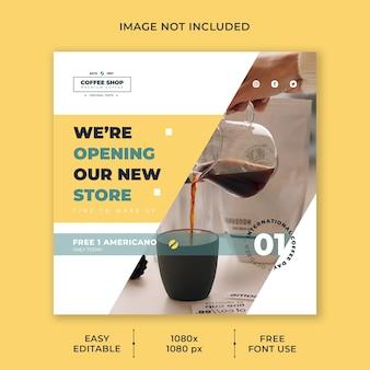 Internationale koffiedag sociale media postsjabloon