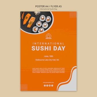 Internationale sushi dag flyer-sjabloon