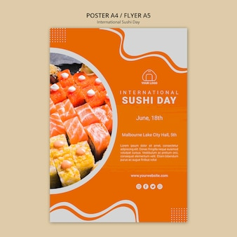 Internationale sushi-dag flyer