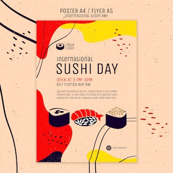 Internationale sushi dag poster sjabloon