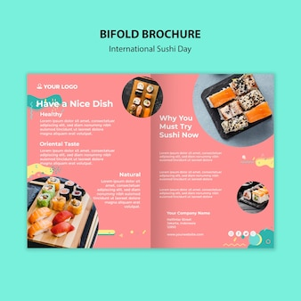 Internationale sushi-dag tweevoudige brochure