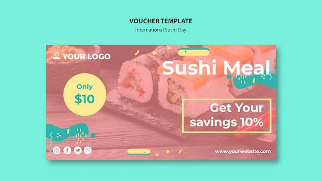 Internationale sushi-dag voucher sjabloon