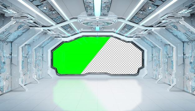 Interno futuristico dell'astronave bianca con la finestra tagliata
