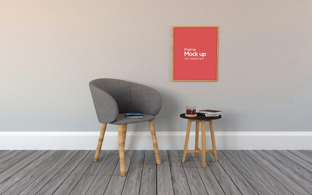 Interno moderno soggiorno con sedia e cornici mockup