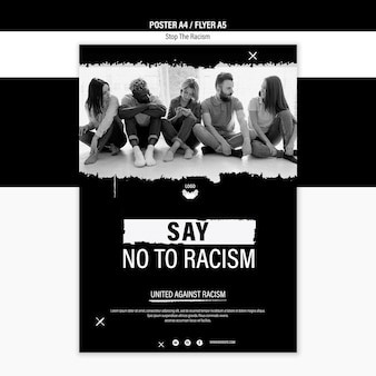 Interrompere il modello di poster di razzismo