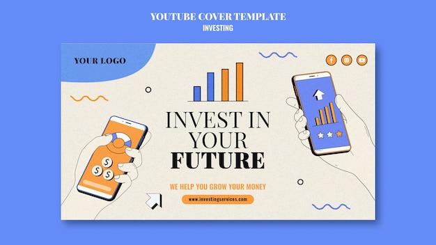 Investering youtube voorbladsjabloon geïllustreerd