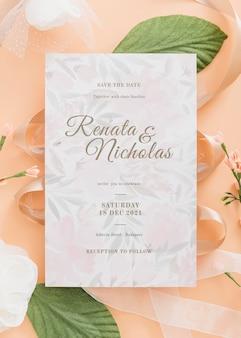 Invitación de boda arriba vista