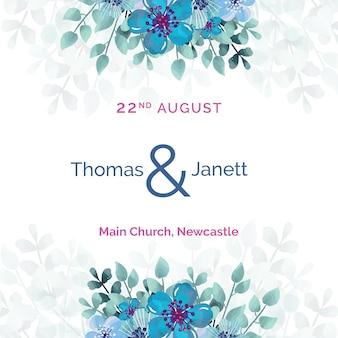Invitación de boda blanca con plantilla de flores azules