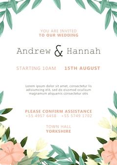 Invitación de boda blanca con plantilla de flores pintadas de rosa
