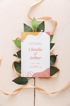 Invitación de boda con cinta