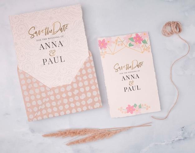 Invitación de boda colorida con endecha plana
