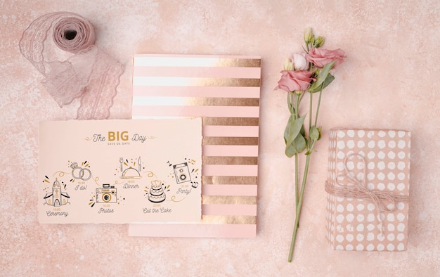 Invitación de boda colorida papelería