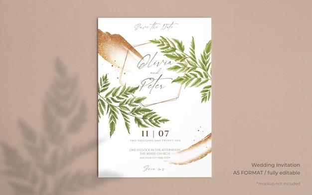 Invitación de boda elegante con hermosas hojas