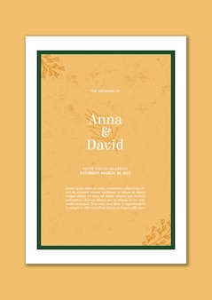 Invitación de boda elegante con marco verde y hojas doradas.