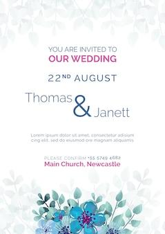 Invitación de boda elegante con plantilla de flores azules