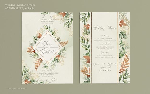 Invitación de boda elegante y plantilla de menú con hojas románticas