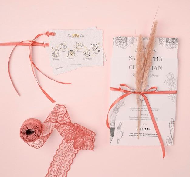 Invitación de boda con endecha plana
