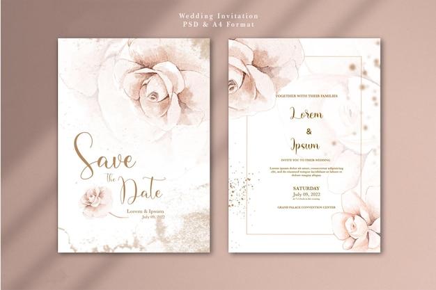 Invitación de boda con flor de oro rosa acuarela