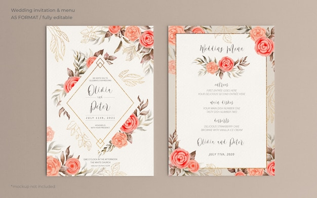 Invitación de boda floral y plantilla de menú con naturaleza suave