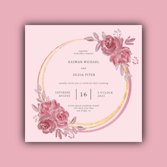 Invitación de boda con flores de acuarela y marco dorado.