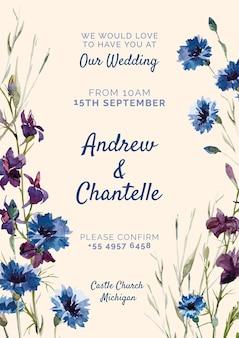 Invitación de boda con flores azules y moradas