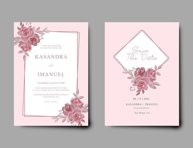 Invitación de boda con fondo rosa y decoración floral en acuarela