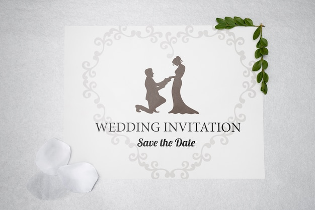 Invitación de boda con guardar la fecha