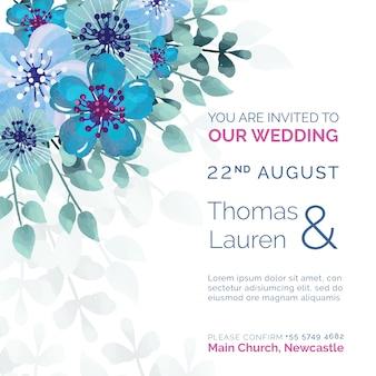 Invitación de boda hermosa con flores azules