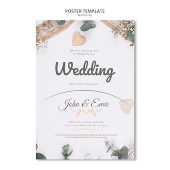 Invitación de boda hermosa con plantilla de adornos bonitos
