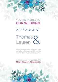 Invitación de boda hermosa con plantilla de flores azules