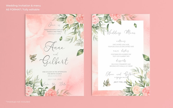 Invitación de boda romántica en acuarela y plantilla de menú