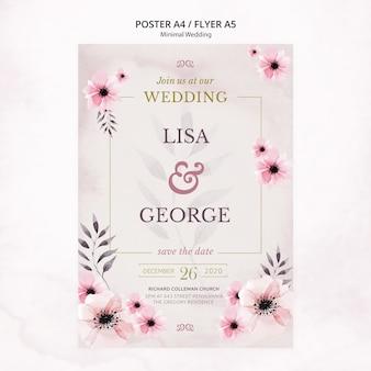 Invitación de boda romántica mínima