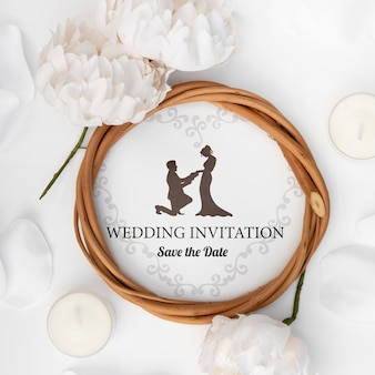 Invitación de boda romántica de primer plano