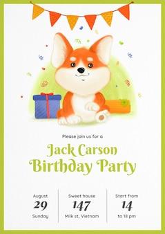 Invitación de cumpleaños de acuarela corgi