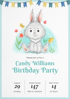 Invitación de cumpleaños de conejo de acuarela