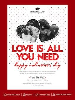 Invitación del día de san valentín, tarjeta de felicitación de plantilla de volante