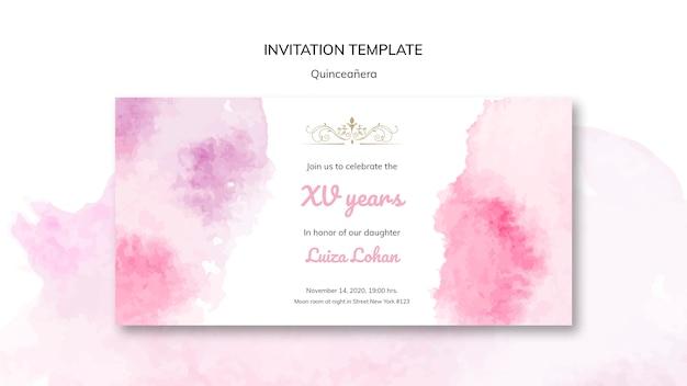 Invitación de fiesta de plantilla de quinceañera