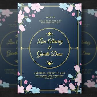 Invitación floral elegante de la boda